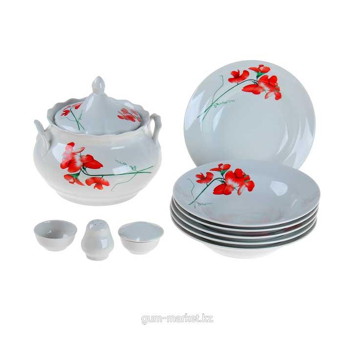 """""""Рубин"""" фарфоровый столовый набор для супа 10 предметов на 6 персон"""
